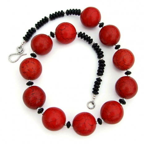chunky red magnesite black onyx jewelry gift for her