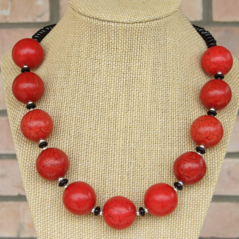 chunky red magnesite black onyx necklace gift for her
