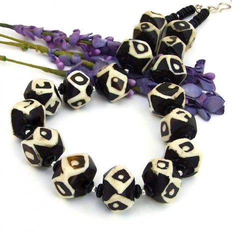 chunky vintage african batik bone bead jewelry
