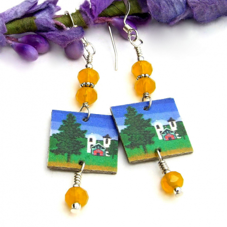 church with crosses earrings with sunflower yellow beads