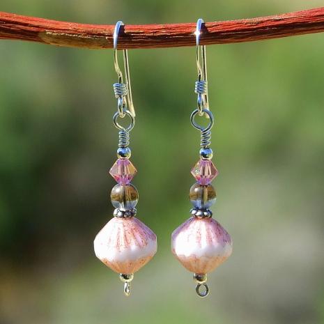 Artisan handmade fluted Czech glass and smoky quartz artisan earrings.