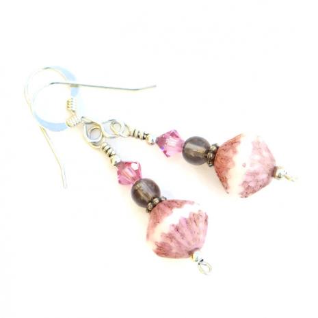"Sweet ""Ciao Bella"" pink and brown handmade earrings."