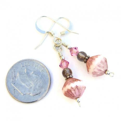 Sparkling handmade pink and brown artisan earrings.