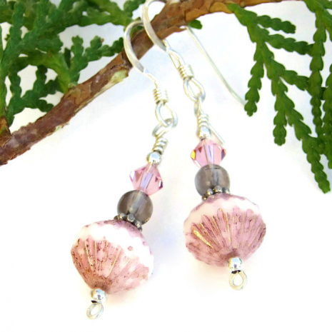 One of a kind pink and brown handmade dangle earrings.