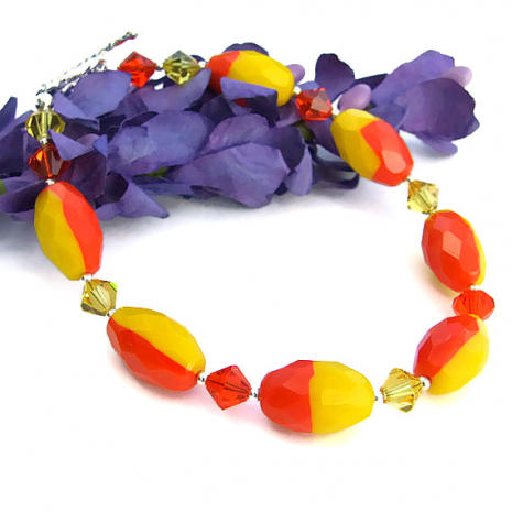 Sparkling yellow and orange jewelry for women.
