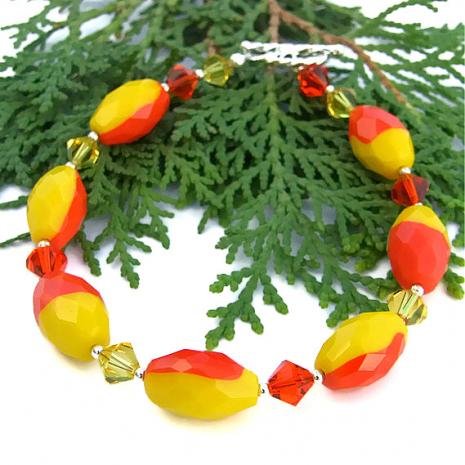 Yellow and orange bracelet.