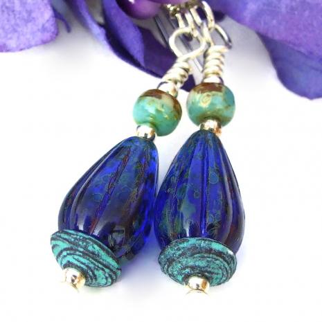 cobalt blue czech glass ridged teardrop earrings gift for her