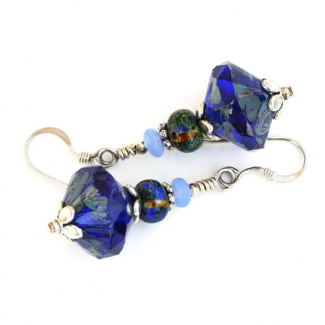 cobalt blue earrings gift for her