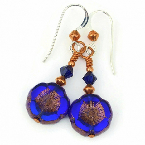 cobalt blue flower earrings with copper