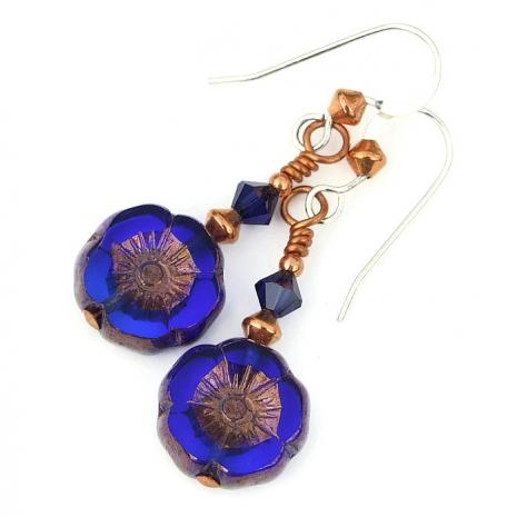 blue flower jewelry with Swarovski crystals
