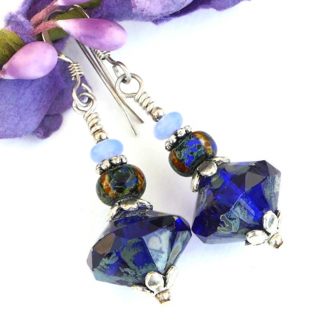 cobalt blue jewelry with light blue accents gift for women