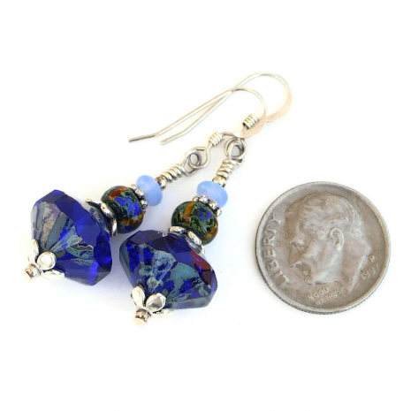 cobalt blue light blue czech glass earrings