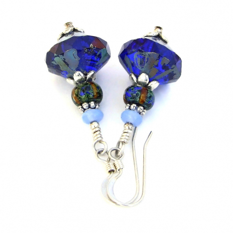 cobalt blue light blue czech glass jewelry