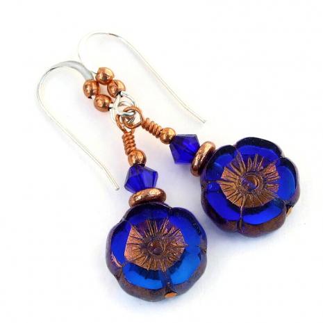 blue copper flower jewelry