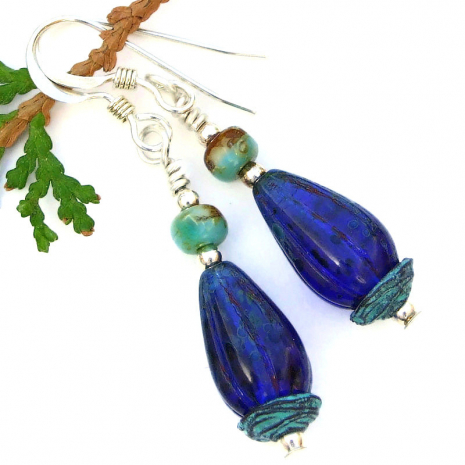 cobalt blue ridged melon teardrops earrings with turquoise