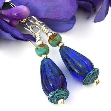 cobalt blue ridged melon teardrops jewelry with turquoise