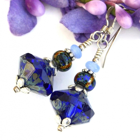 cobalt blue saturn earrings jewelry gift for her