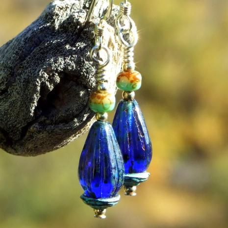 cobalt blue teardrop earrings gift for women