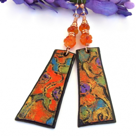 colorful abstract art inspired dangle earrings with orange carnelian