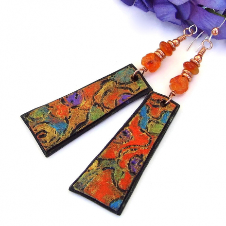 colorful abstract art inspired dangle jewelry with orange carnelian