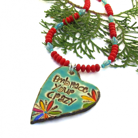 colorful ceramic heart embrace your crazy necklace with red and turquoise