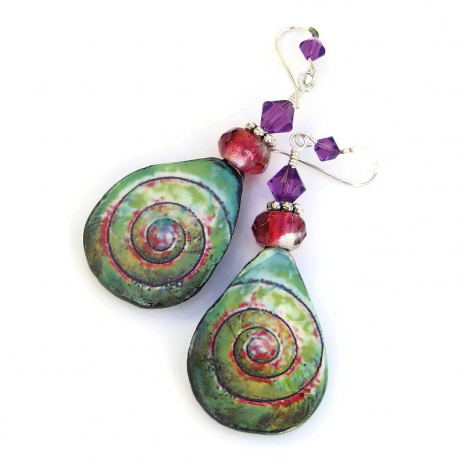 colorful ceramic spiral earrings gift for women