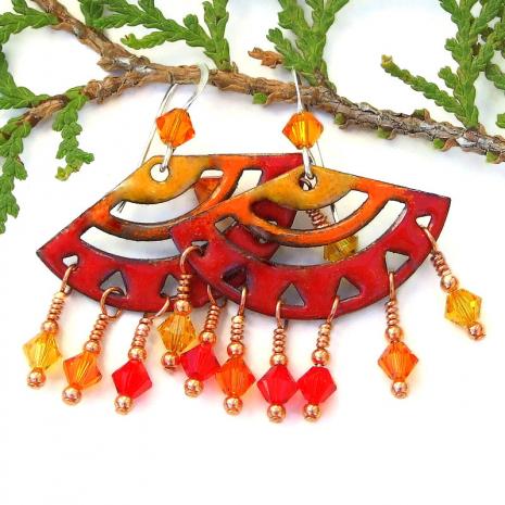 enamel chandelier earrings in red orange yellow gift for her