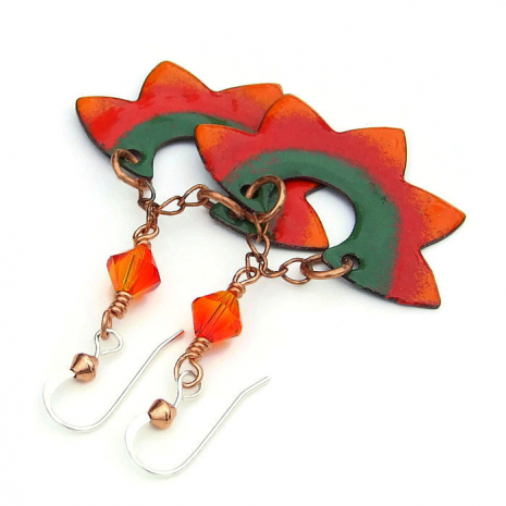 orange red and green enamel sun jewelry gift for her