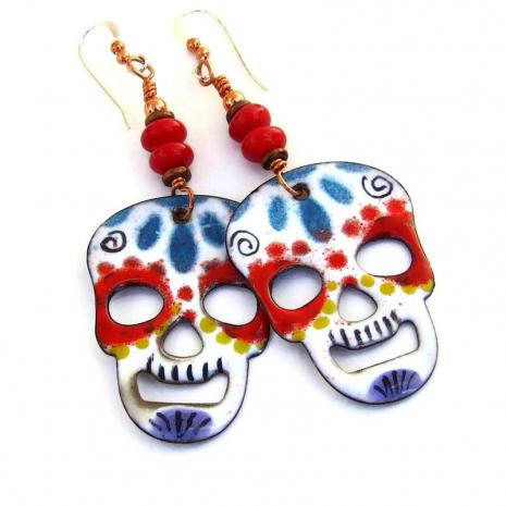 colorful enamel skull earrings gift for her
