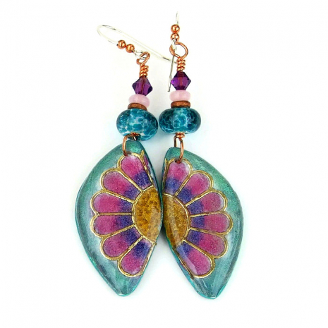 colorful flower earrings gift for women
