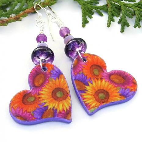 flowers and hearts earrings for women