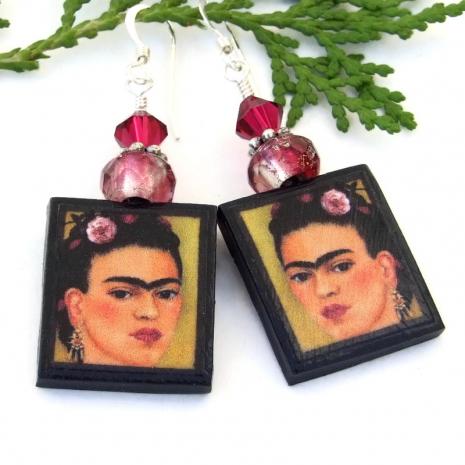 colorful frida kahlo dangle art earrings