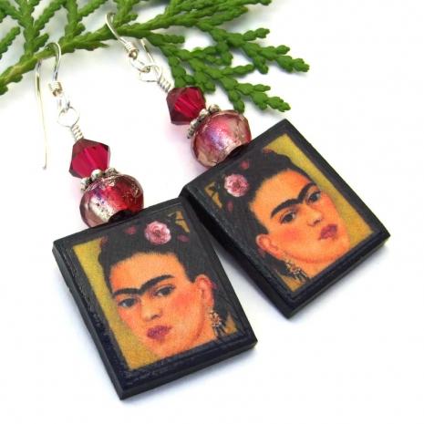colorful frida kahlo dangle art jewelry