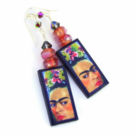 colorful frida kahlo earrings