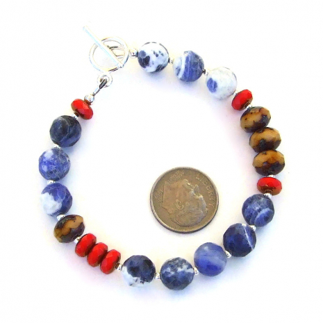 colorful gemstone czech glass bracelet with sterling silver