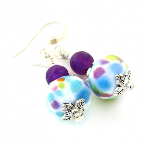 colorful lampwork bead earrings with matte purple czech beads