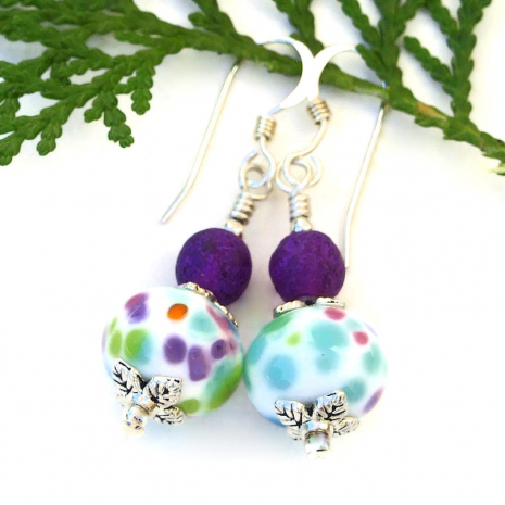 colorful lampwork bead jewelry with matte purple czech beads