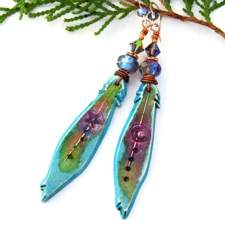 colorful moon star feather boho earrings gift for her