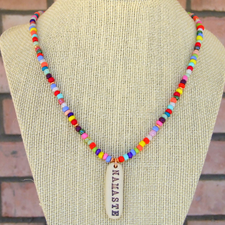 colorful namaste yoga necklace jewelry gift for her