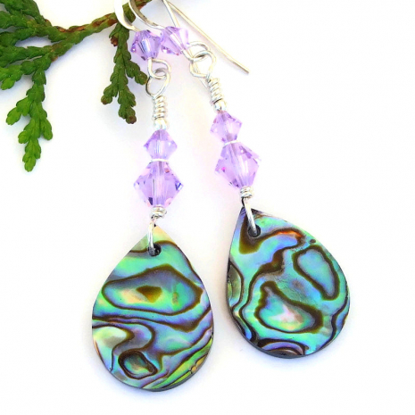 colorful paua abalone shell teardrop jewelry swarovski crystals