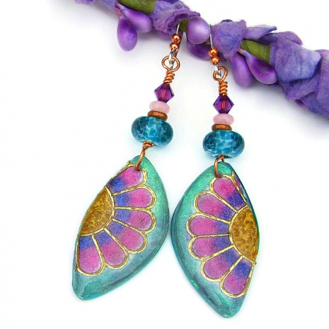 colorful polymer clay and resin daisy flower earrings with lampwork