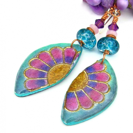 colorful polymer clay and resin daisy flower jewelry with lampwork