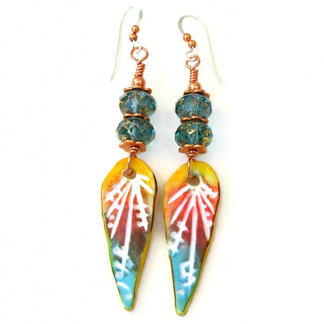 colorful polymer clay teardrop earrings gift for women