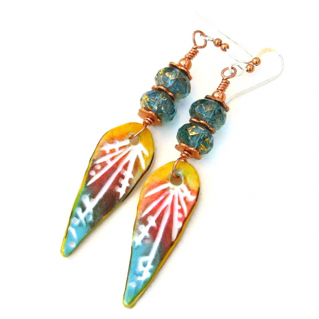 colorful polymer clay teardrop jewelry gift for women