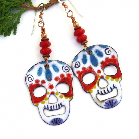 colorful sugar skull day of the dead earrings gift