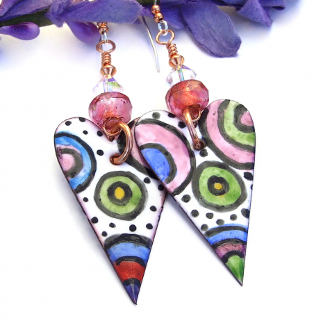 colorful valentines hearts earrings with pink beads and swarovski crystals