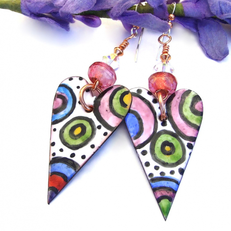 colorful valentines hearts jewelry with pink beads and swarovski crystals
