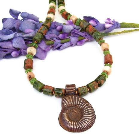 copper ammonite and gemstone jewelry handmade gift for her