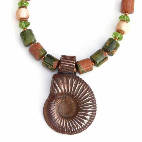 copper ammonite pendant jewelry gift for women