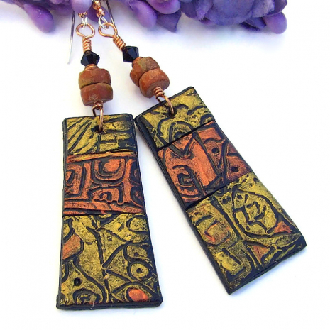 copper and gold polymer clay rustic earrings